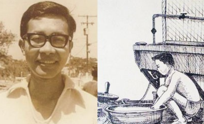 Mon Ramirez while at the Ipil Detention Center at Fort Bonifacio in Taguig and artwork by fellow detainee Jun Verzola during the Martial Law years. Photos from Mon Ramirez
