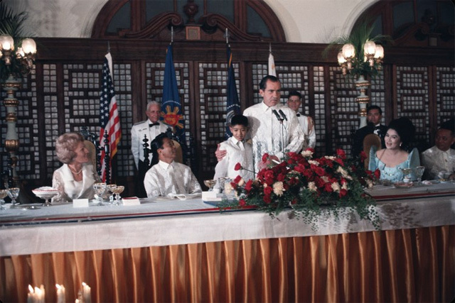 SPECIAL AFFAIRS. Ferdinand Marcos and Richard Nixon, together with their families, in an event at the Malacanang. Photo from Wikipedia