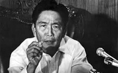 Ferdinand Marcos announcing the declaration of Martial Law on national TV