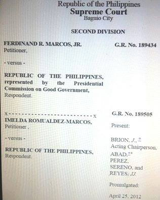 Proof Of Marcos Plunder