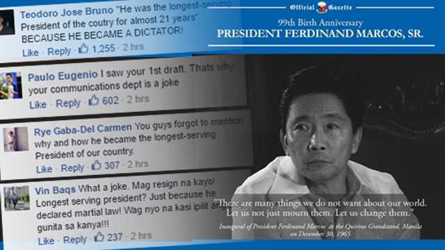 Official Gazette under fire for Marcos photo caption