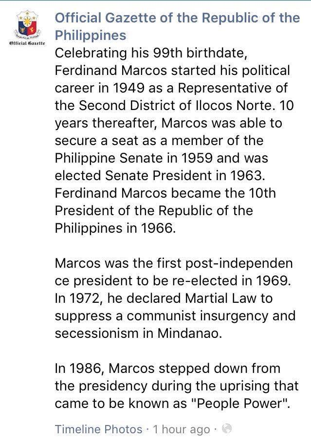 Official Gazette draws flak for 'historical revisionism' on Marcos FB post 2