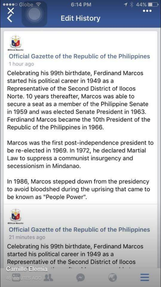 Official Gazette draws flak for 'historical revisionism' on Marcos FB post