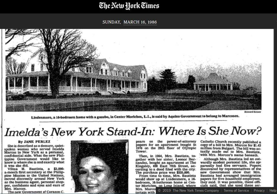 IMELDA'S NEW YORK STAND-IN: WHERE IS SHE NOW?