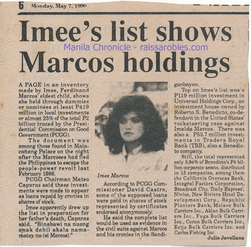 Imee Marcos knew all about the loot and tried to make singil from dad's dummies